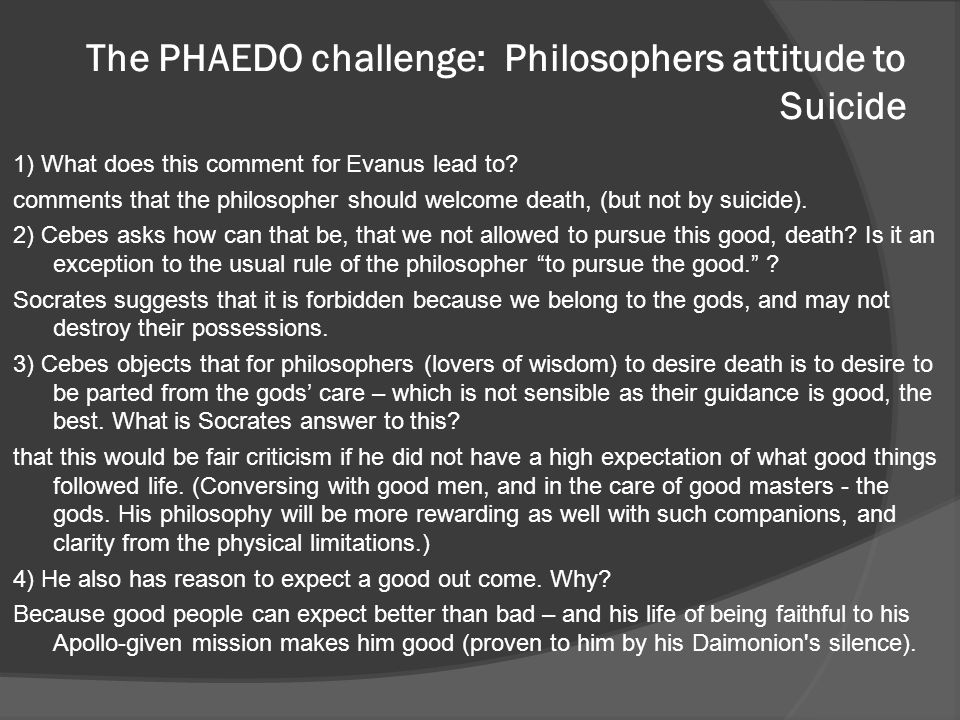 The PHAEDO challenge: Philosophers attitude to Suicide
