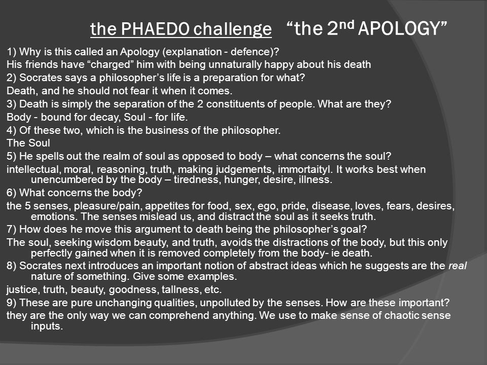 the PHAEDO challenge the 2nd APOLOGY