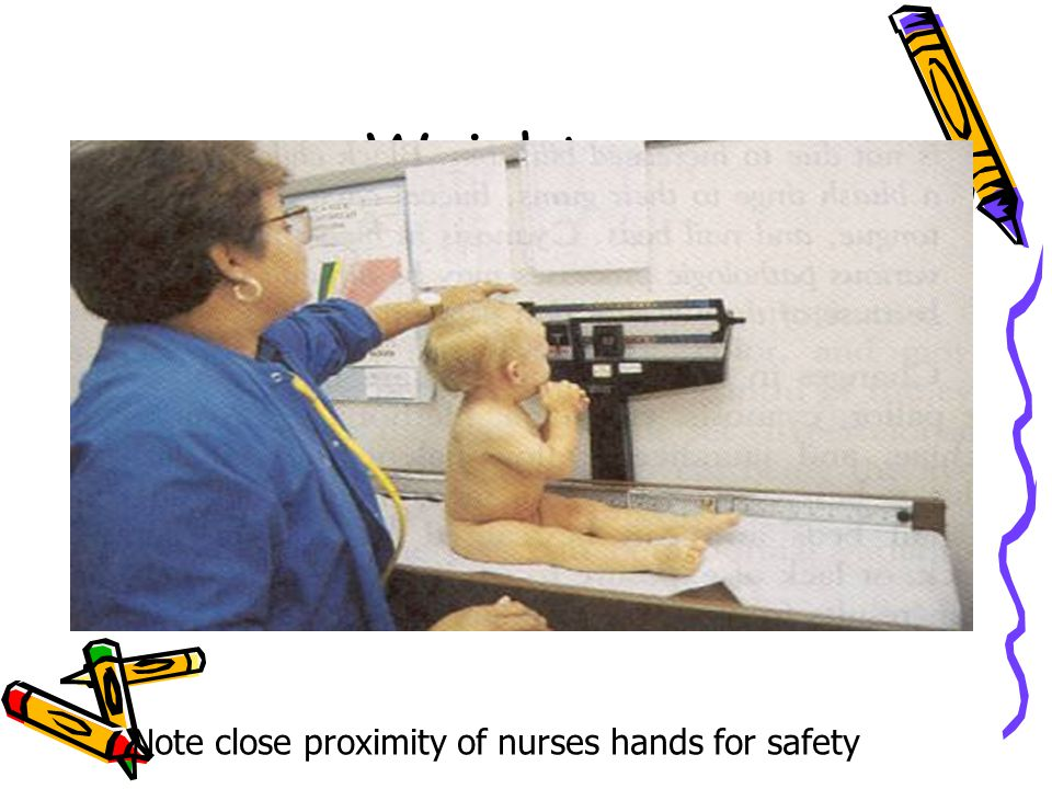 Weight Note close proximity of nurses hands for safety