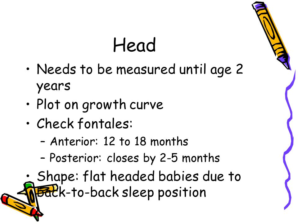Head Needs to be measured until age 2 years Plot on growth curve