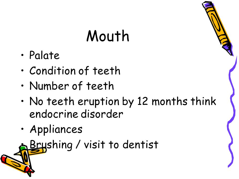 Mouth Palate Condition of teeth Number of teeth