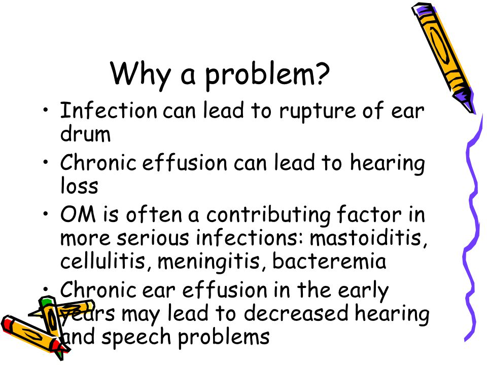Why a problem Infection can lead to rupture of ear drum