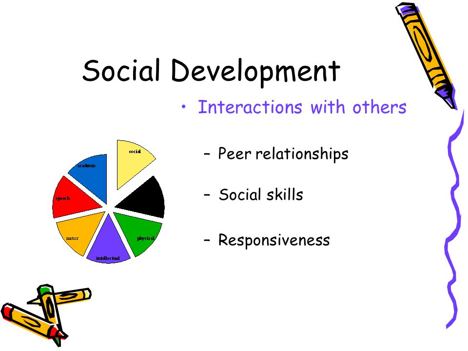 Social Development Interactions with others Peer relationships