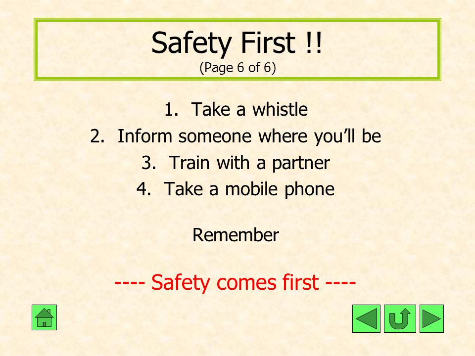 Safety First !! (Page 6 of 6) ---- Safety comes first ----