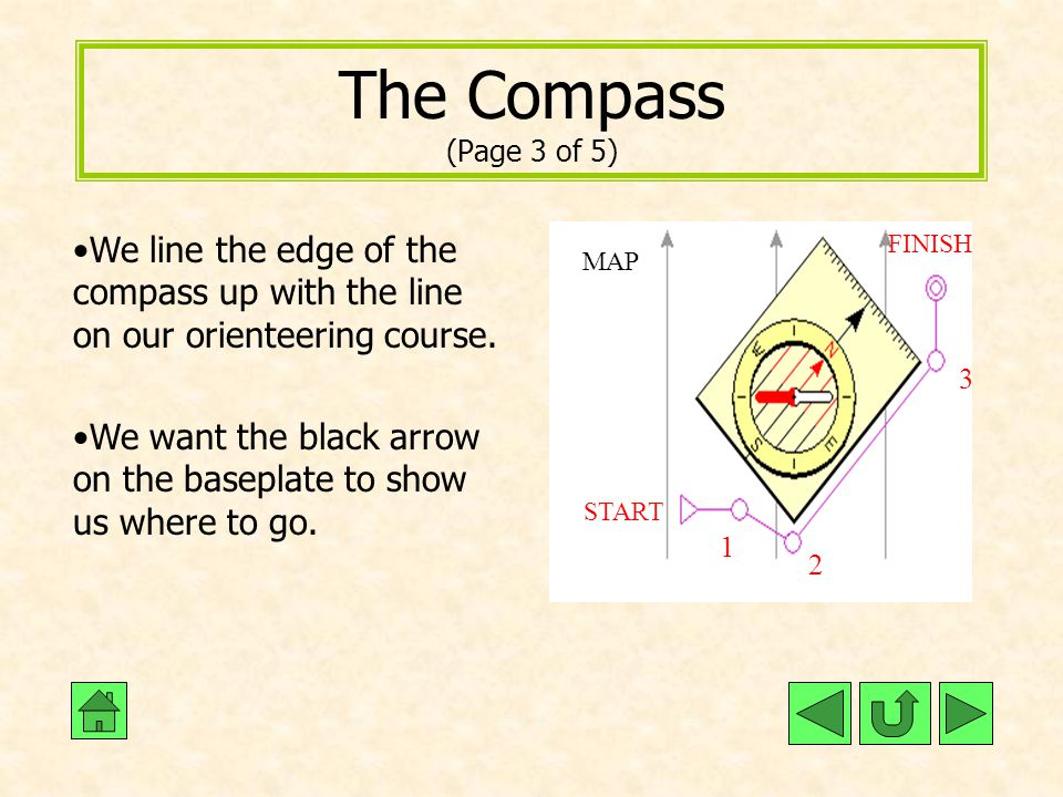 The Compass (Page 3 of 5) We line the edge of the compass up with the line on our orienteering course.