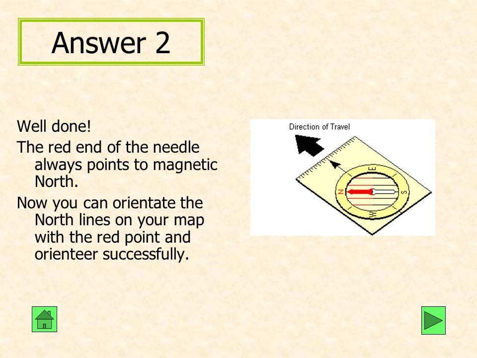Answer 2 Well done! The red end of the needle always points to magnetic North.