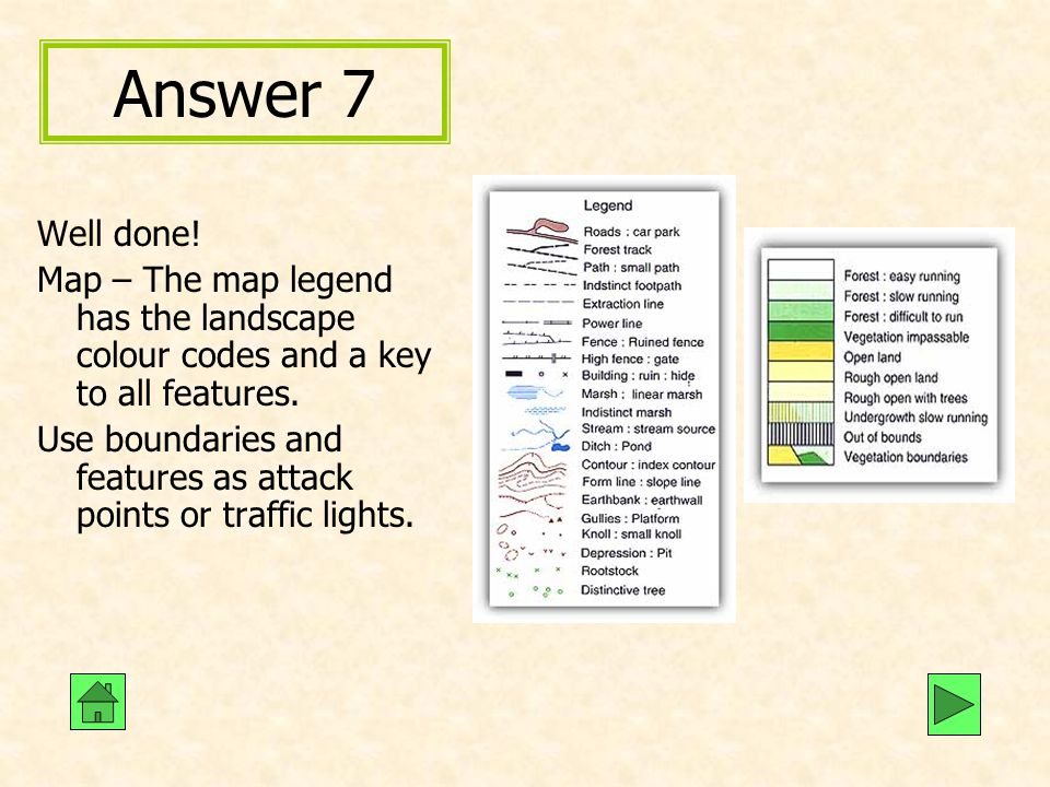 Answer 7 Well done! Map – The map legend has the landscape colour codes and a key to all features.