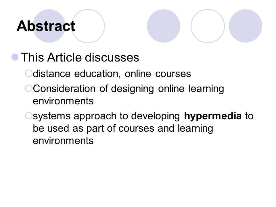 Abstract This Article discusses distance education, online courses