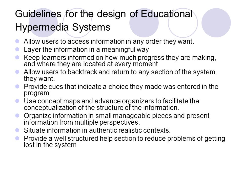 Guidelines for the design of Educational Hypermedia Systems