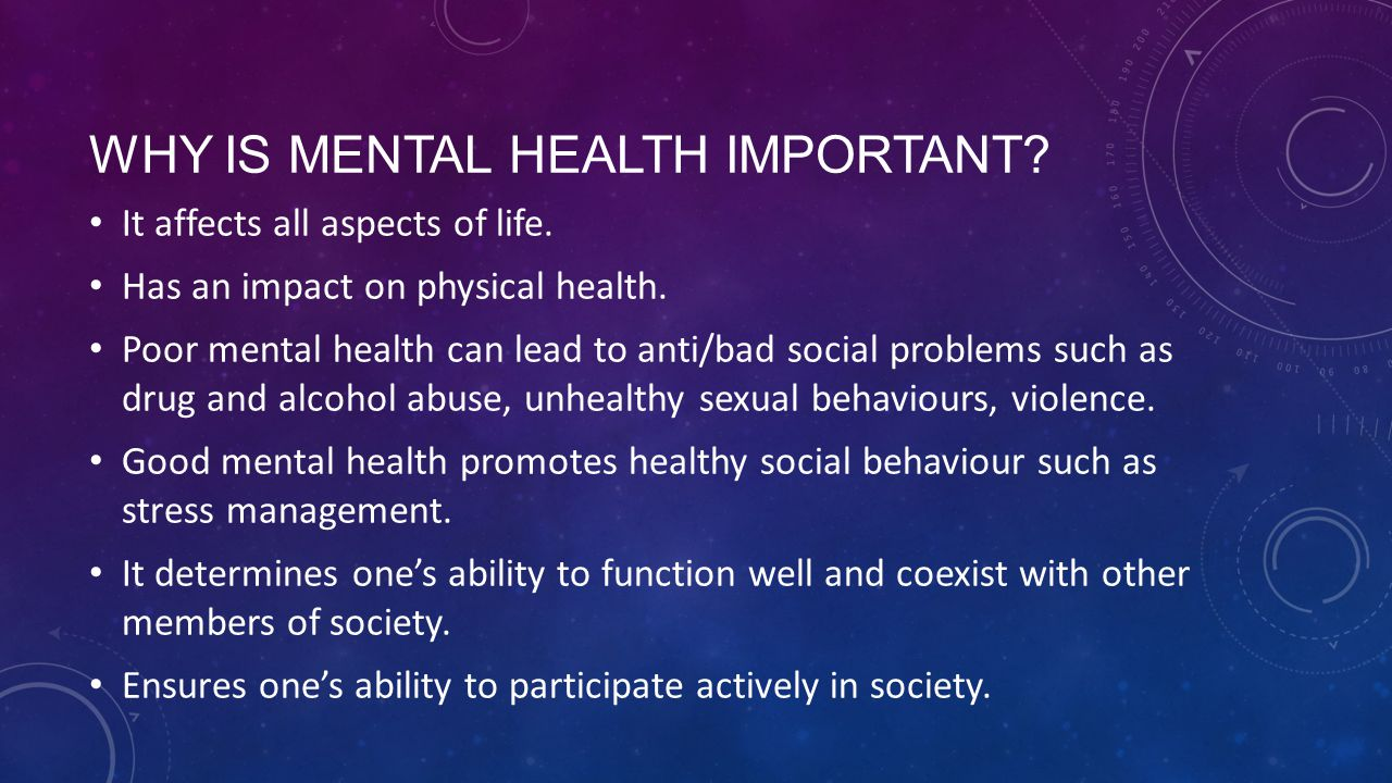 Why is mental health important