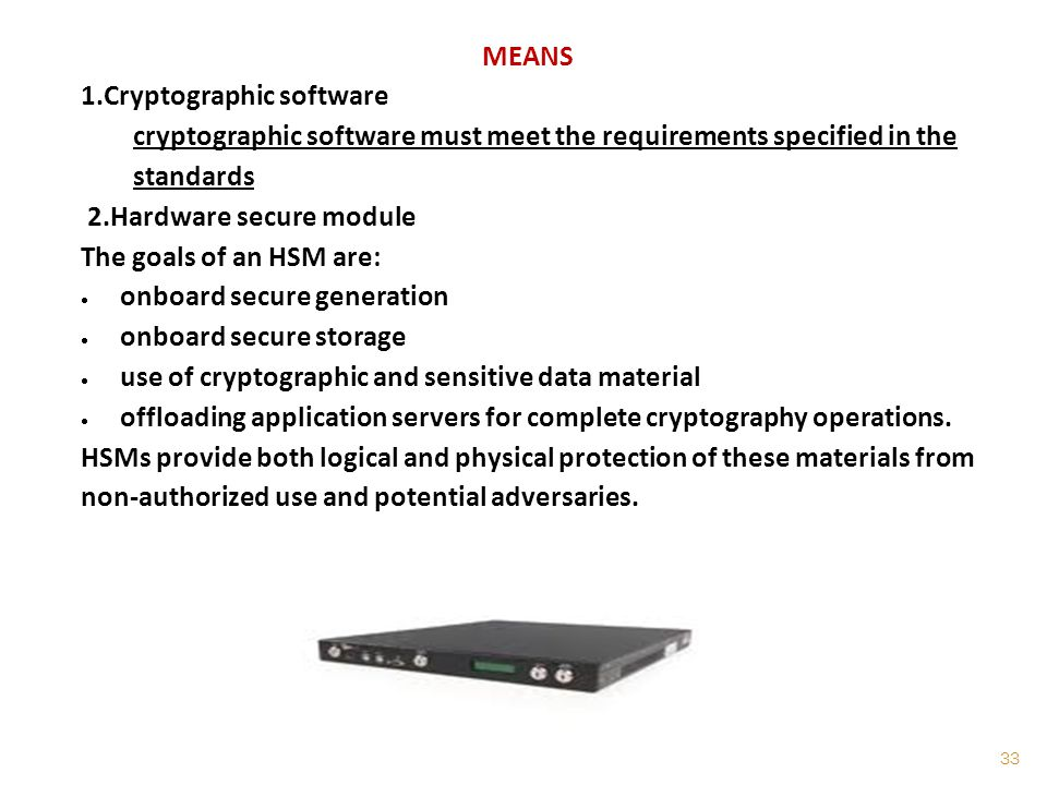 MEANS 1.Cryptographic software. cryptographic software must meet the requirements specified in the standards.