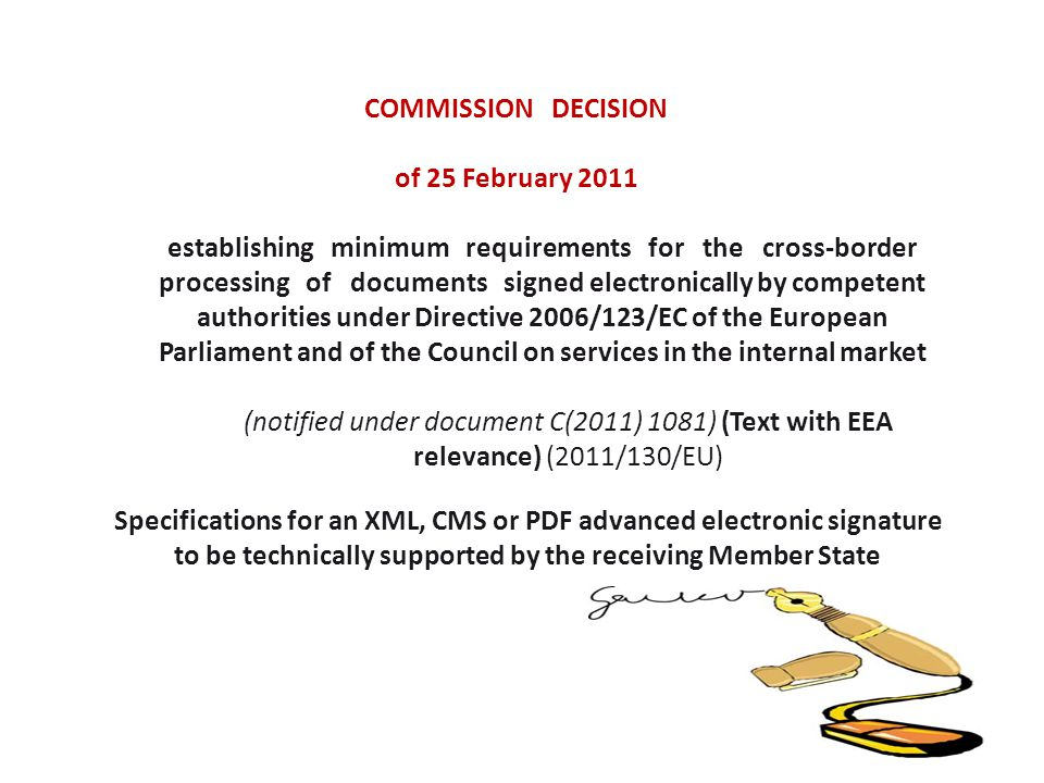 COMMISSION DECISION of 25 February 2011.