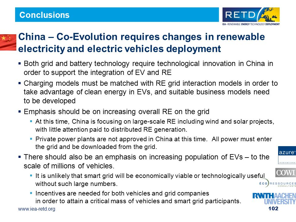 Conclusions China – Co-Evolution requires changes in renewable electricity and electric vehicles deployment.