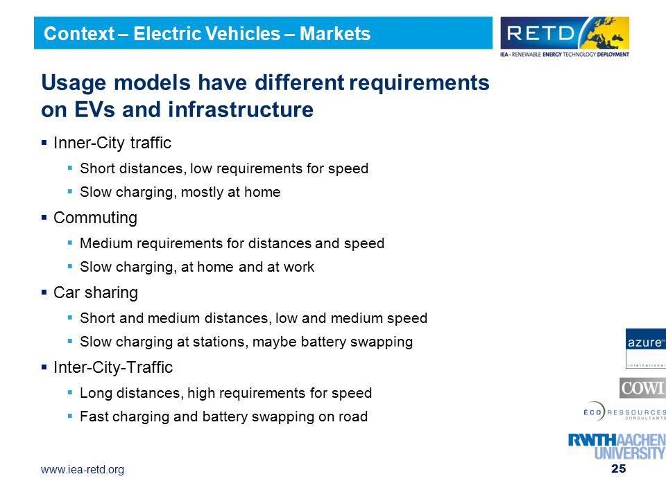 Usage models have different requirements on EVs and infrastructure