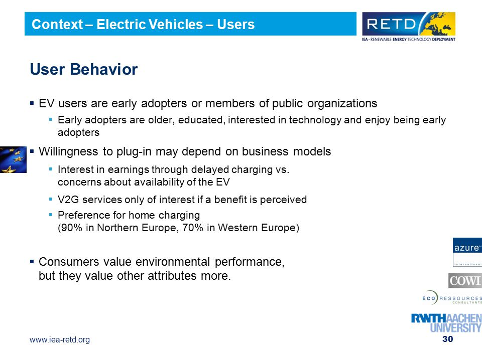 User Behavior Context – Electric Vehicles – Users