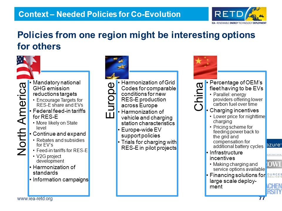 Policies from one region might be interesting options for others