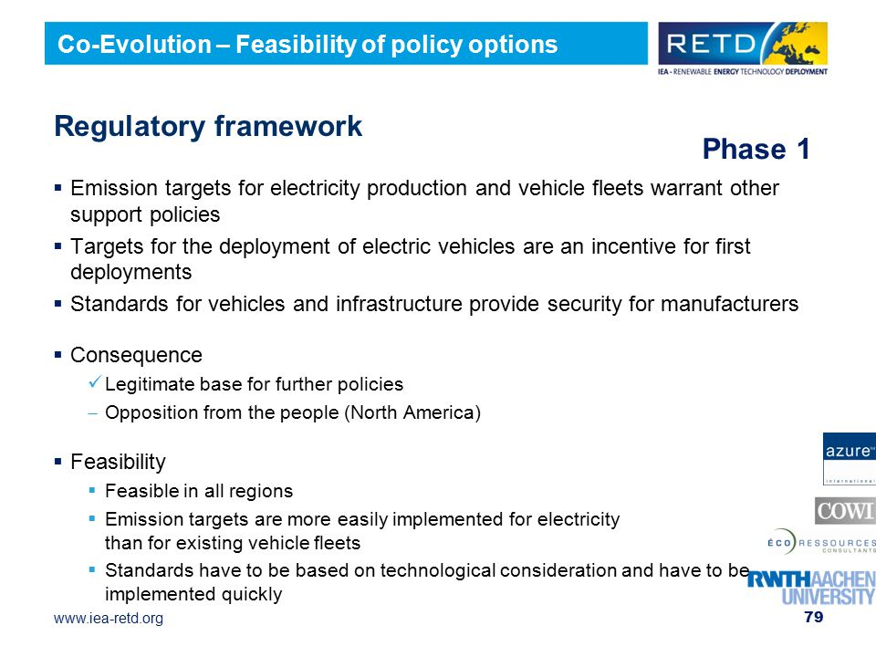 Regulatory framework Phase 1