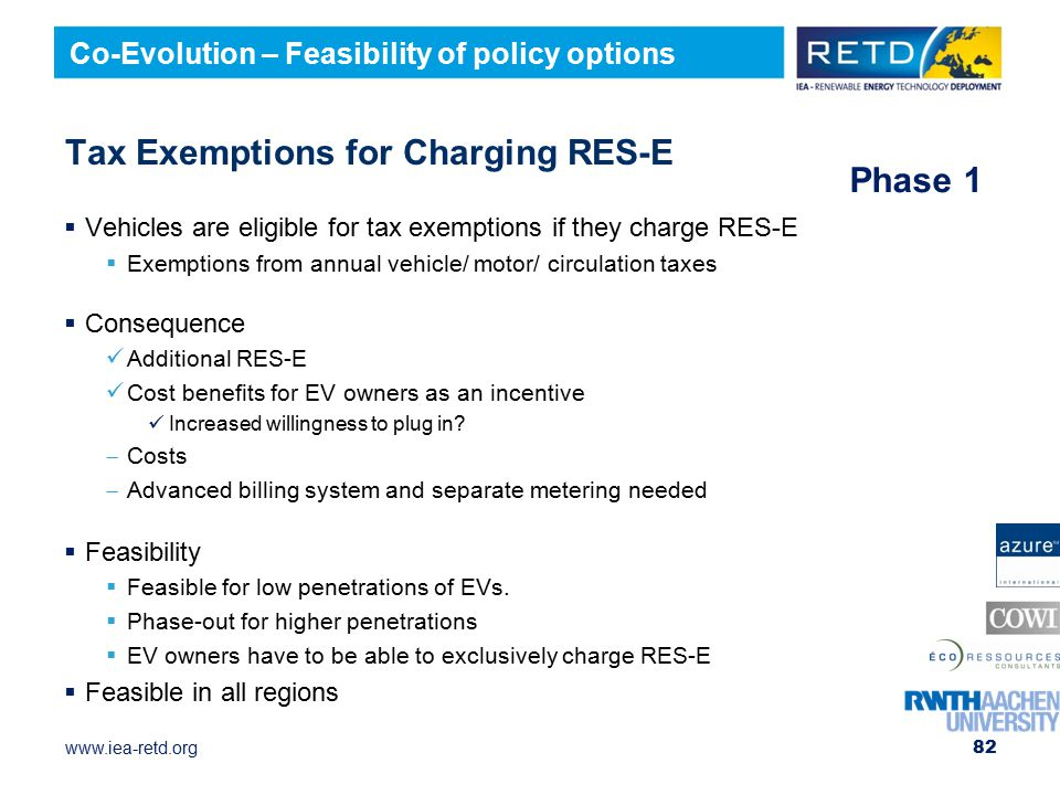 Tax Exemptions for Charging RES-E