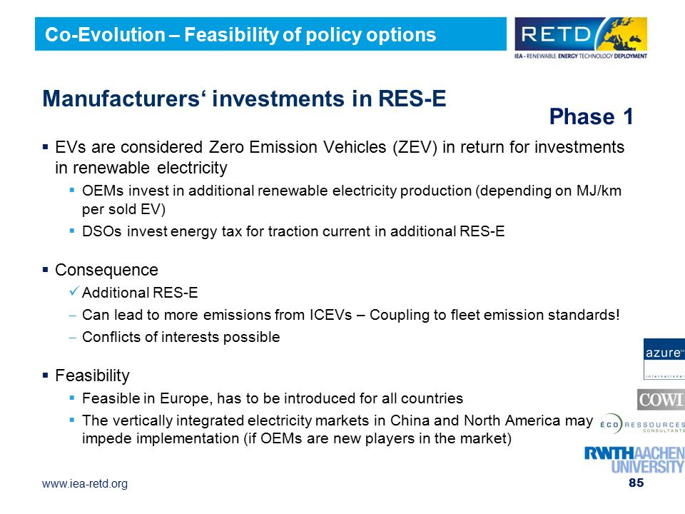 Manufacturers' investments in RES-E
