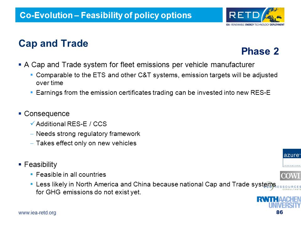Cap and Trade Phase 2 Co-Evolution – Feasibility of policy options