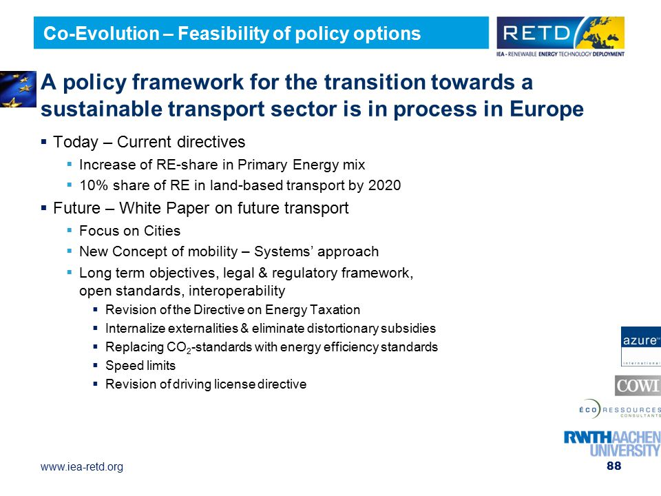 Co-Evolution – Feasibility of policy options