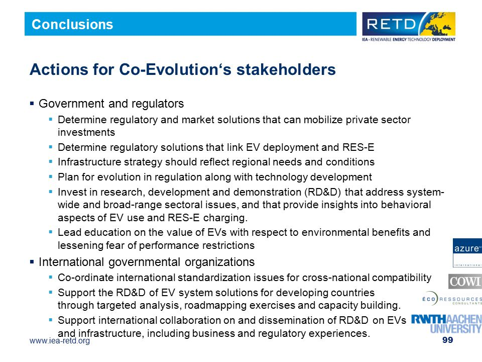 Actions for Co-Evolution's stakeholders