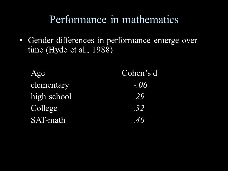 Performance in mathematics