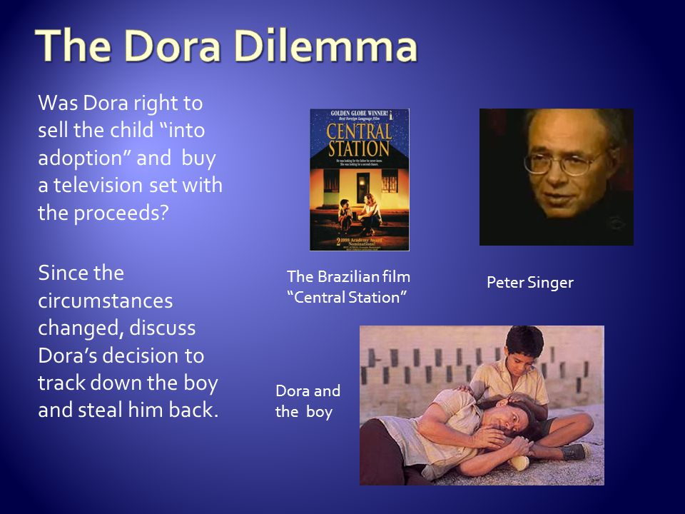 The Dora Dilemma Was Dora right to sell the child into adoption and buy a television set with the proceeds