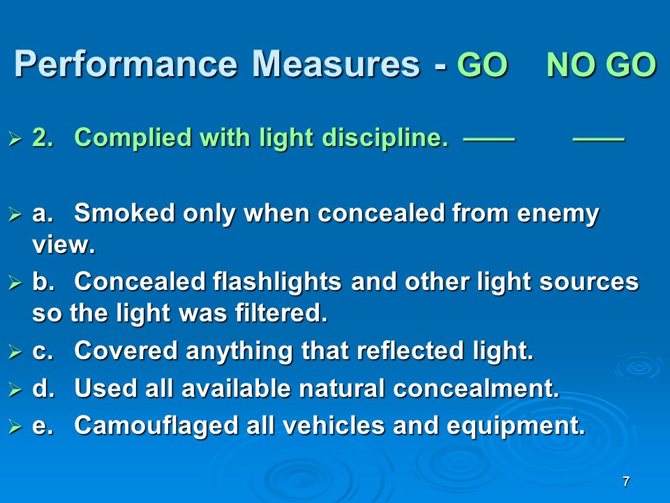 Performance Measures - GO NO GO