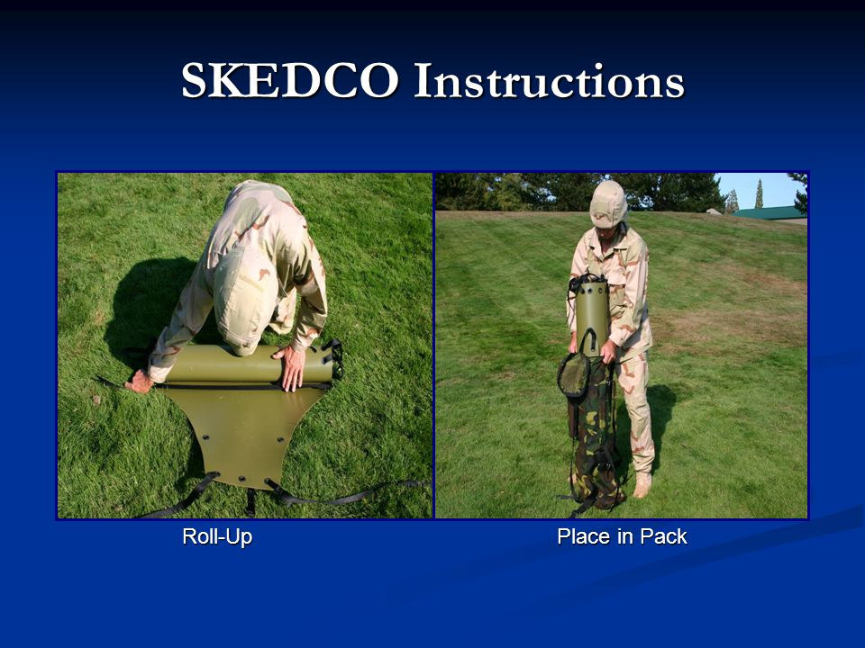 SKEDCO Instructions Roll-Up Place in Pack