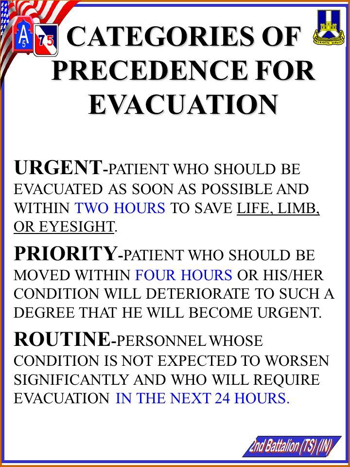 CATEGORIES OF PRECEDENCE FOR EVACUATION