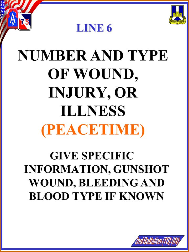 NUMBER AND TYPE OF WOUND, INJURY, OR ILLNESS (PEACETIME)
