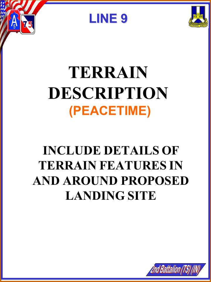 LINE 9 TERRAIN DESCRIPTION (PEACETIME)