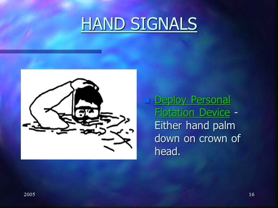 HAND SIGNALS Deploy Personal Flotation Device - Either hand palm down on crown of head. 2005