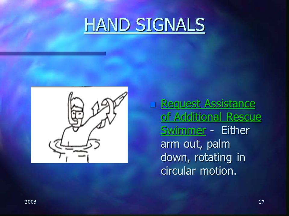 HAND SIGNALS Request Assistance of Additional Rescue Swimmer - Either arm out, palm down, rotating in circular motion.