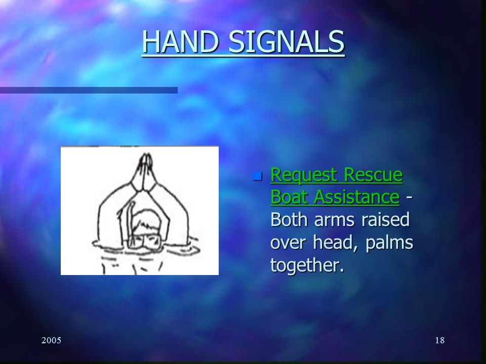HAND SIGNALS Request Rescue Boat Assistance - Both arms raised over head, palms together. 2005