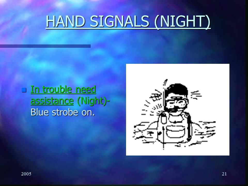 HAND SIGNALS (NIGHT) In trouble need assistance (Night)- Blue strobe on. 2005