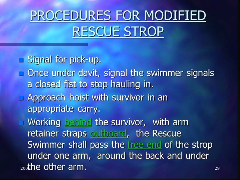 PROCEDURES FOR MODIFIED RESCUE STROP