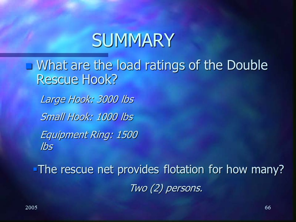 SUMMARY What are the load ratings of the Double Rescue Hook