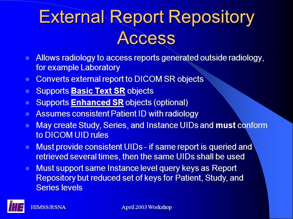 External Report Repository Access