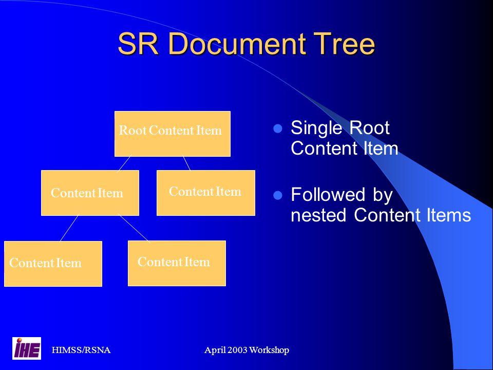 SR Document Tree Single Root Content Item