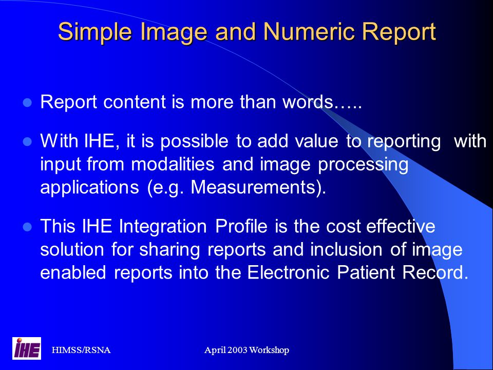 Simple Image and Numeric Report