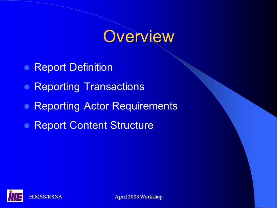 Overview Report Definition Reporting Transactions