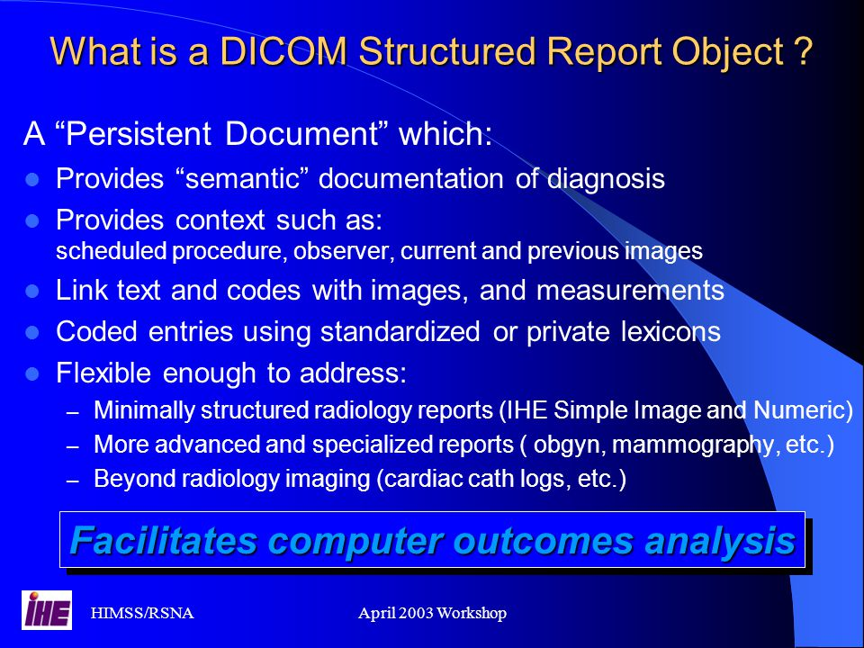 What is a DICOM Structured Report Object