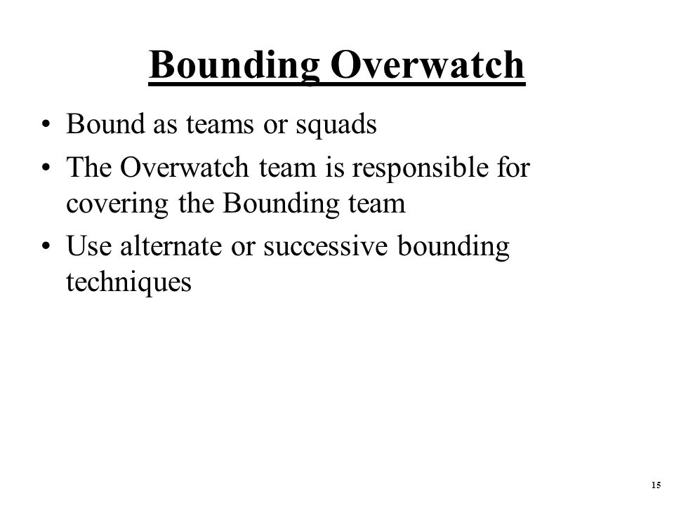 Bounding Overwatch Bound as teams or squads