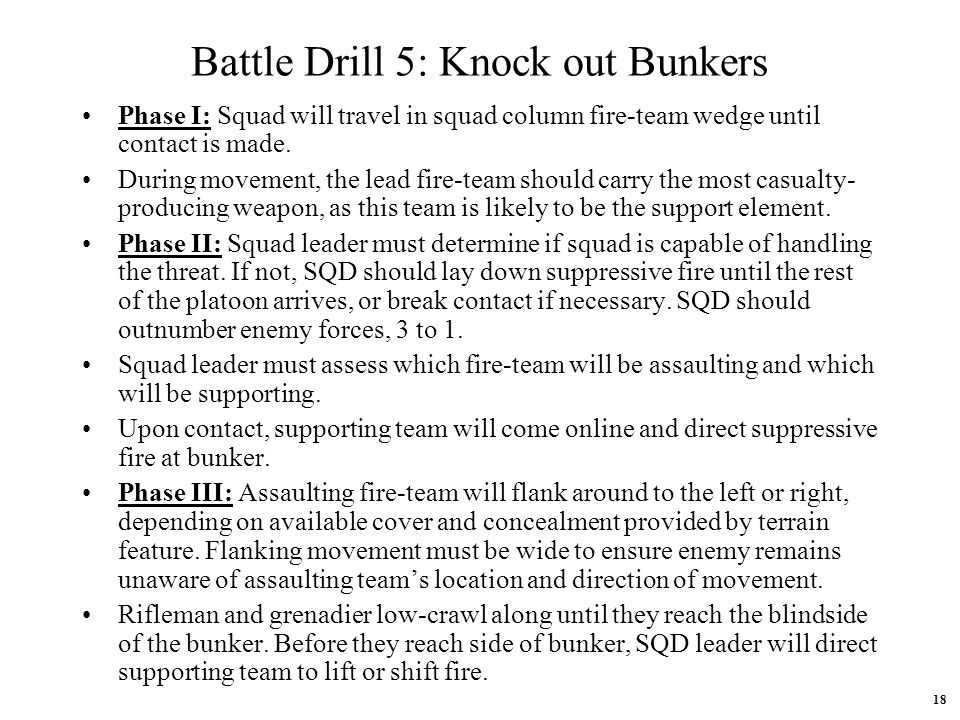Battle Drill 5: Knock out Bunkers
