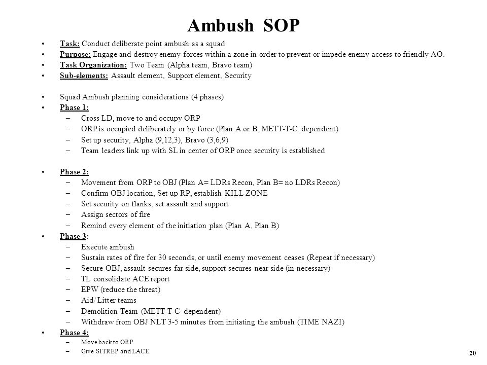 Ambush SOP Task: Conduct deliberate point ambush as a squad