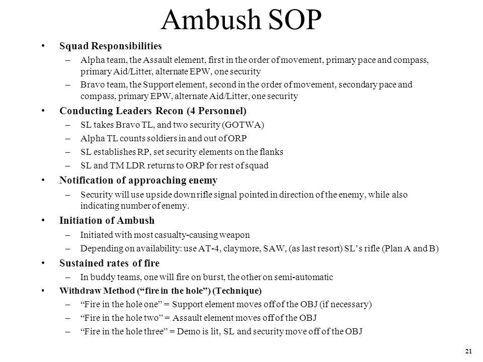 Ambush SOP Squad Responsibilities