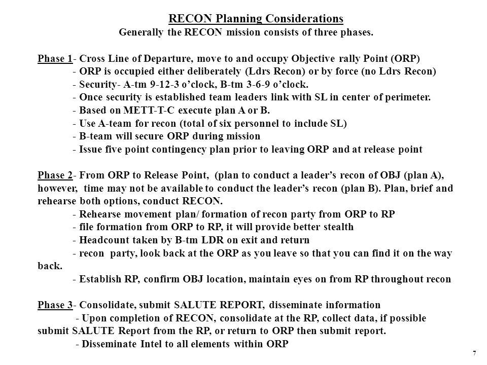 RECON Planning Considerations
