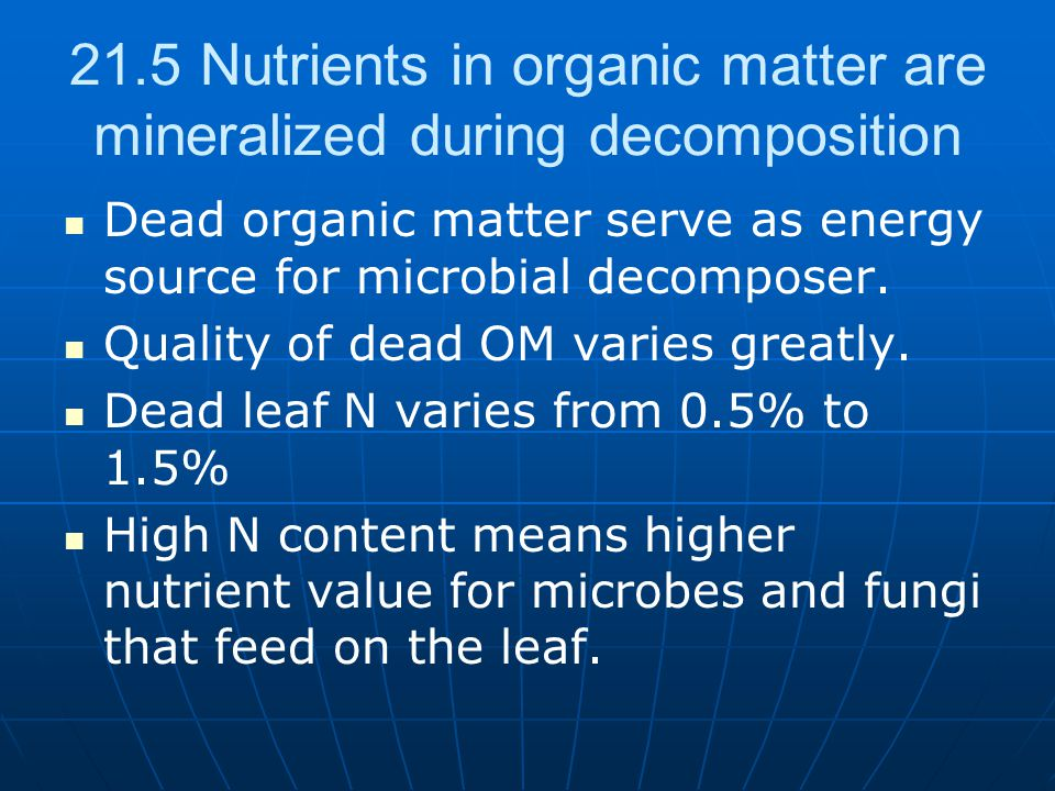 21.5 Nutrients in organic matter are mineralized during decomposition